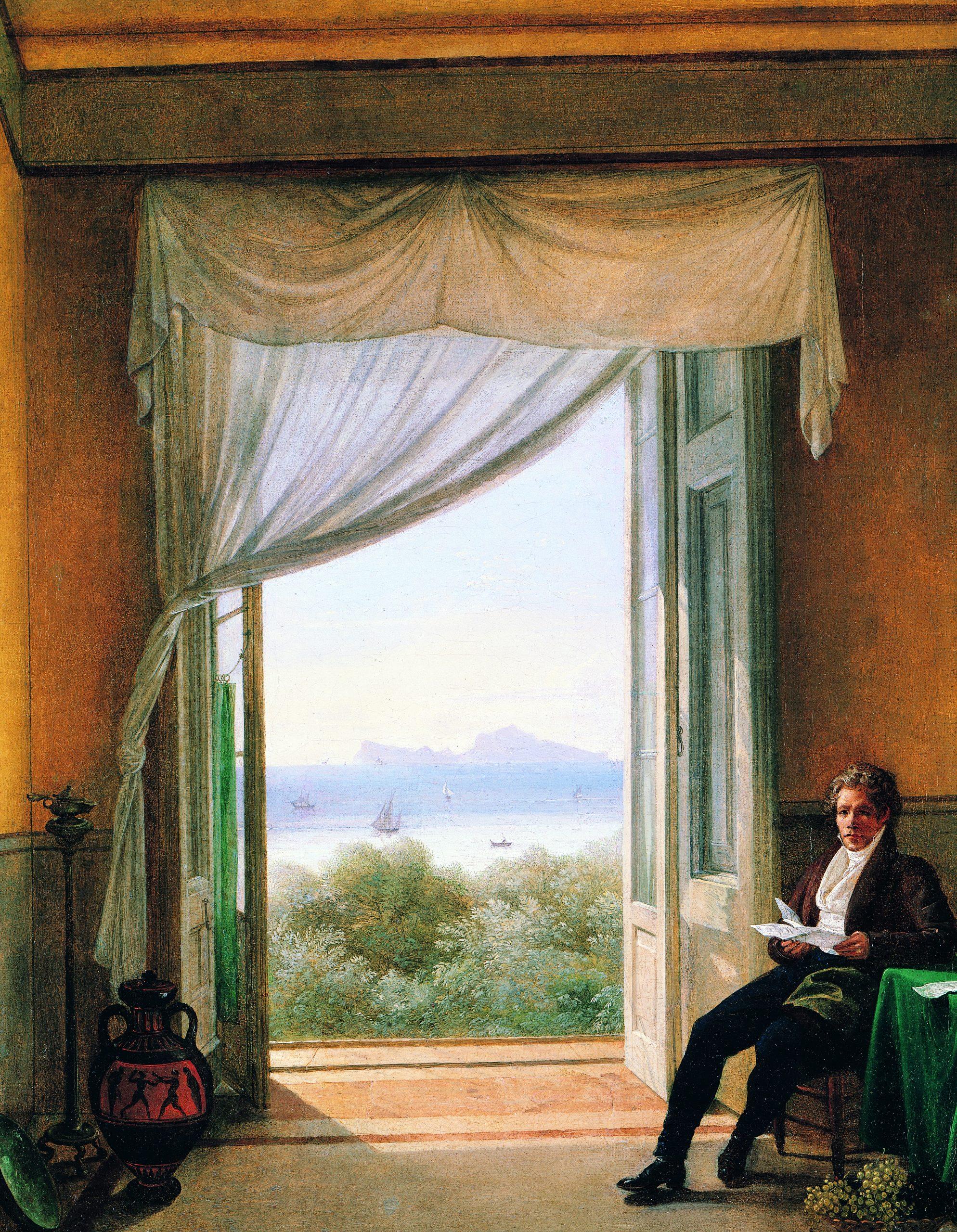 """Franz Ludwig Catel, """"Schinkel à Naples"""", huile sur toile, 62 x 49 cm, 1824. Nationalgalerie, Berlin."""